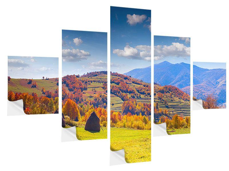 Klebeposter 5-teilig Herbstliche Berglandschaft