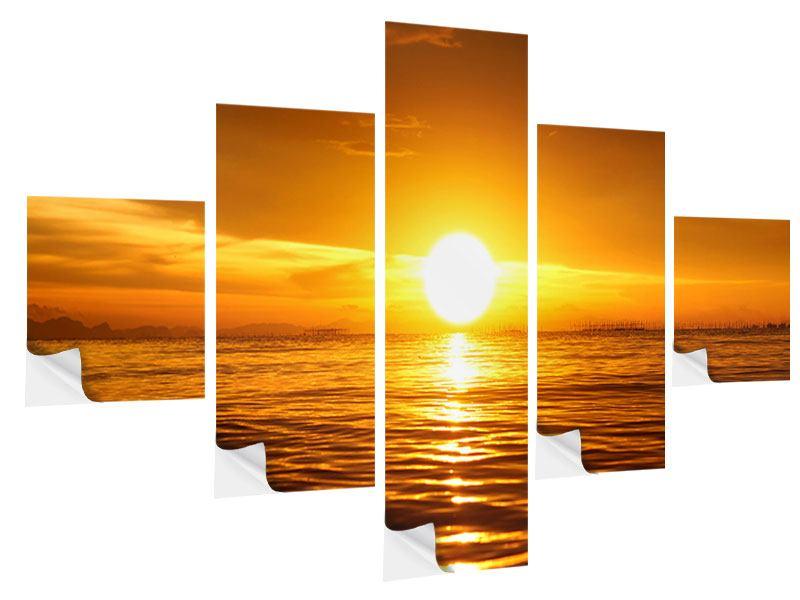 Klebeposter 5-teilig Glühender Sonnenuntergang am Wasser