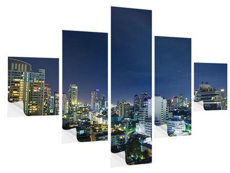 Klebeposter 5-teilig Skyline Nachts in Bangkok