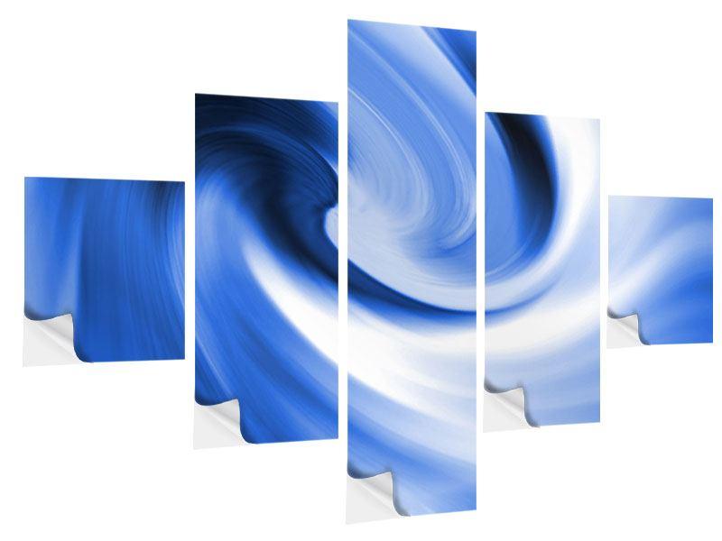 Klebeposter 5-teilig Abstrakte blaue Welle