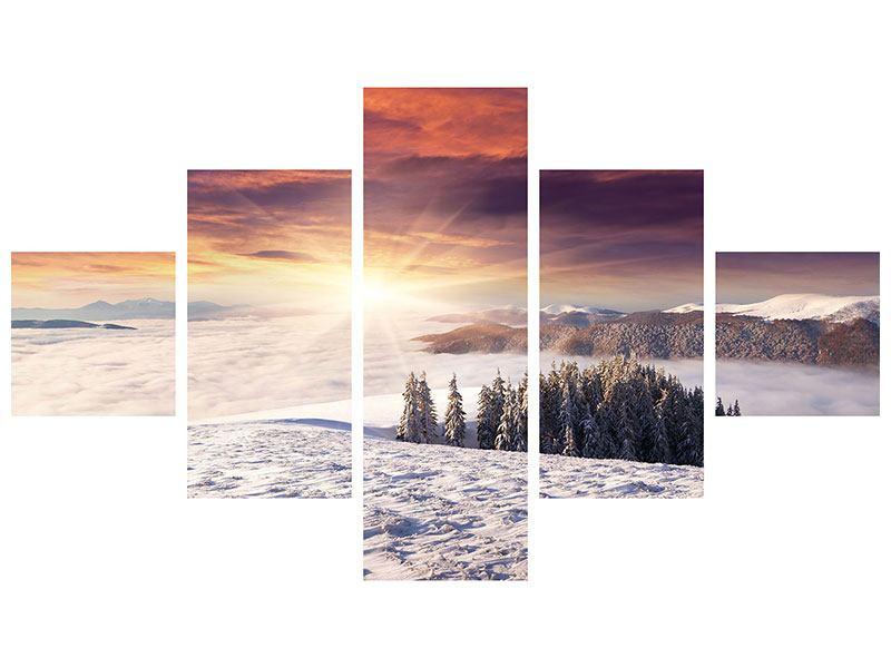 Klebeposter 5-teilig Sonnenaufgang Winterlandschaft