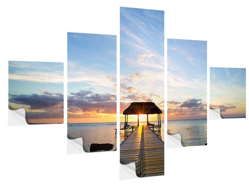 Klebeposter 5-teilig Romantik auf Mauritius