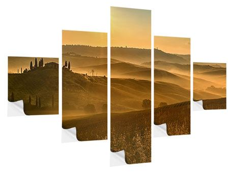 Klebeposter 5-teilig Sonnenuntergang im Gebirge