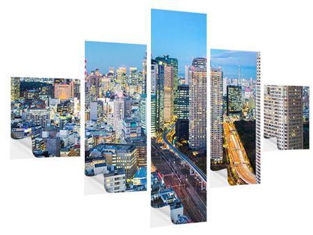 Klebeposter 5-teilig Skyline Tokio im Lichtermeer