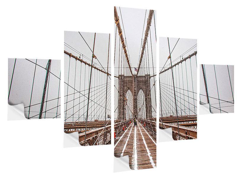 Klebeposter 5-teilig Auf der Brooklyn Bridge