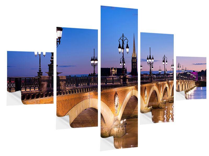 Klebeposter 5-teilig Pont De Pierre bei Sonnenuntergang