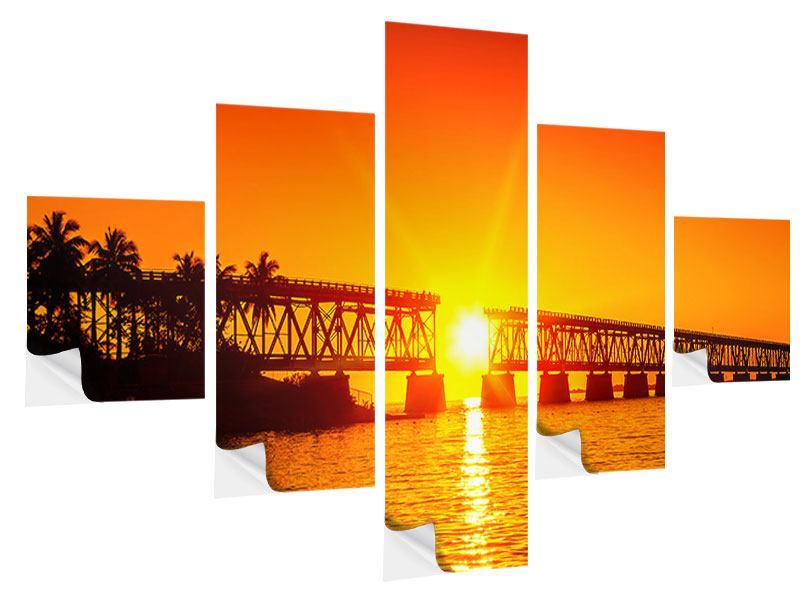 Klebeposter 5-teilig Sonnenuntergang an der Brücke