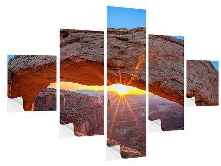 Klebeposter 5-teilig Sonnenuntergang am Mesa Arch