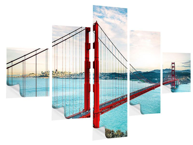 Klebeposter 5-teilig Golden Gate Bridge