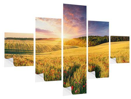 Klebeposter 5-teilig Ein Blumenfeld bei Sonnenaufgang