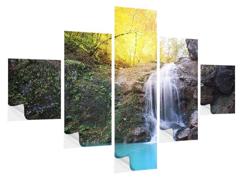 Klebeposter 5-teilig Fliessender Wasserfall