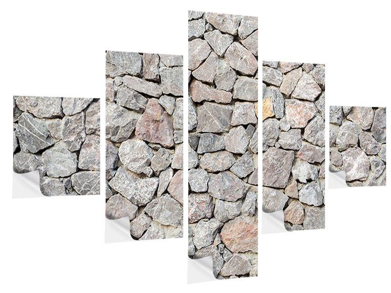 Klebeposter 5-teilig Grunge-Stil Mauer
