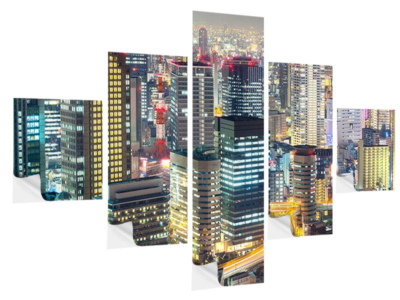 5 Piece Self-Adhesive Poster Skyline Osaka In Sea Of Lights