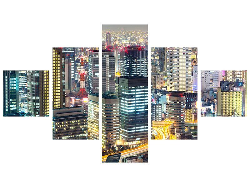 Klebeposter 5-teilig Skyline Osaka im Lichtermeer