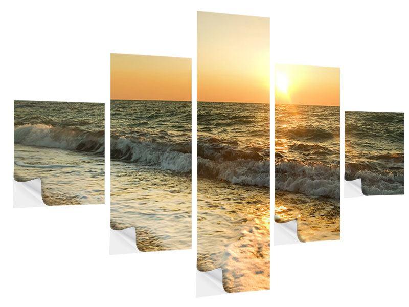 Klebeposter 5-teilig Sonnenuntergang am Meer
