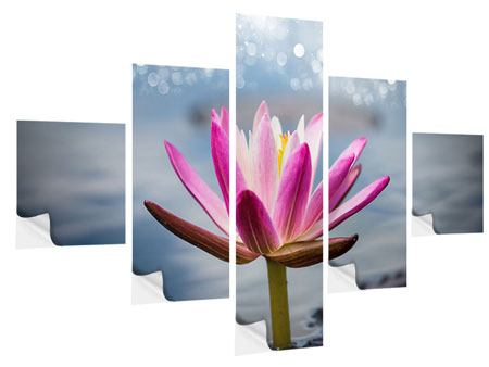 Klebeposter 5-teilig Lotus im Morgentau