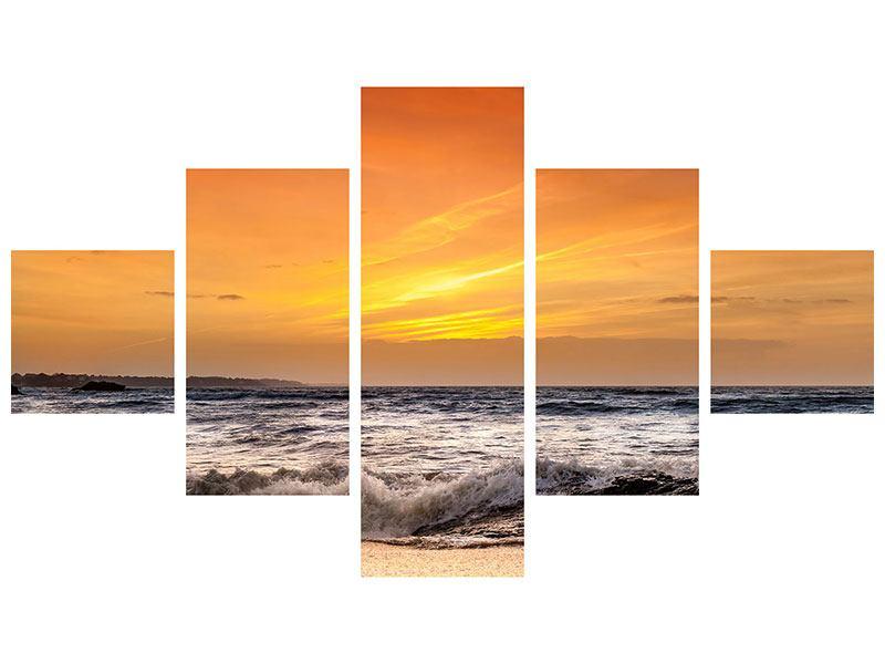 Klebeposter 5-teilig See mit Sonnenuntergang