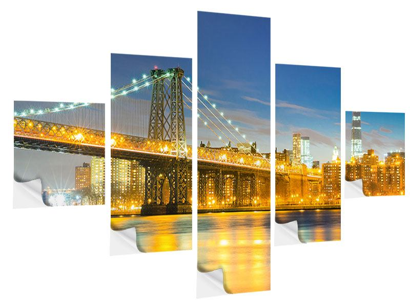 Klebeposter 5-teilig Brooklyn Bridge bei Nacht