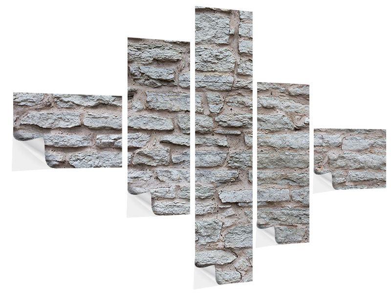 Klebeposter 5-teilig modern Steinmauer