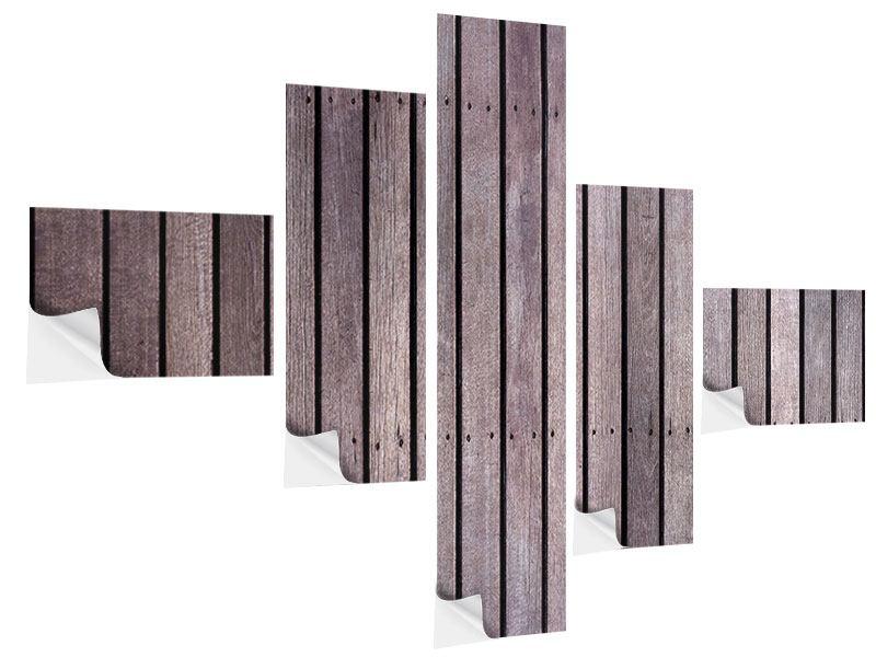 Klebeposter 5-teilig modern Holzwand