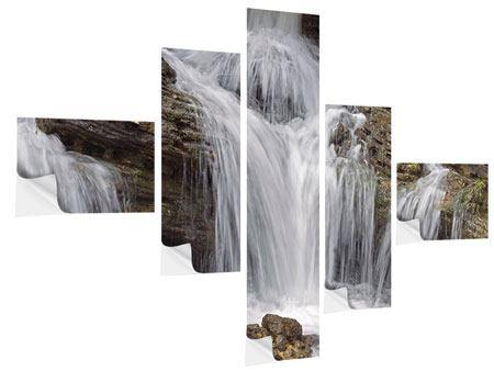 Klebeposter 5-teilig modern Wasserfall XXL