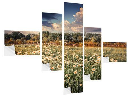 Klebeposter 5-teilig modern Die Wiesenmargerite am Fluss