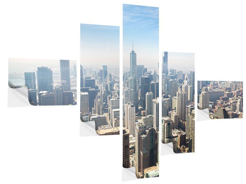 Klebeposter 5-teilig modern Wolkenkratzer Chicago