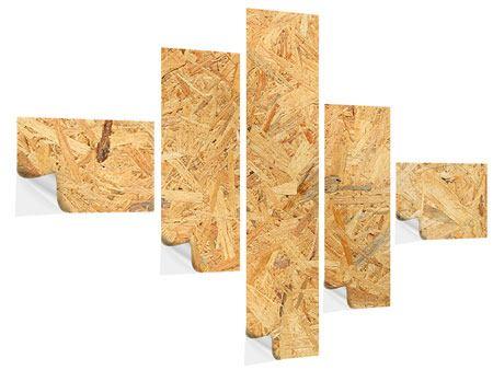 Klebeposter 5-teilig modern Gepresstes Holz