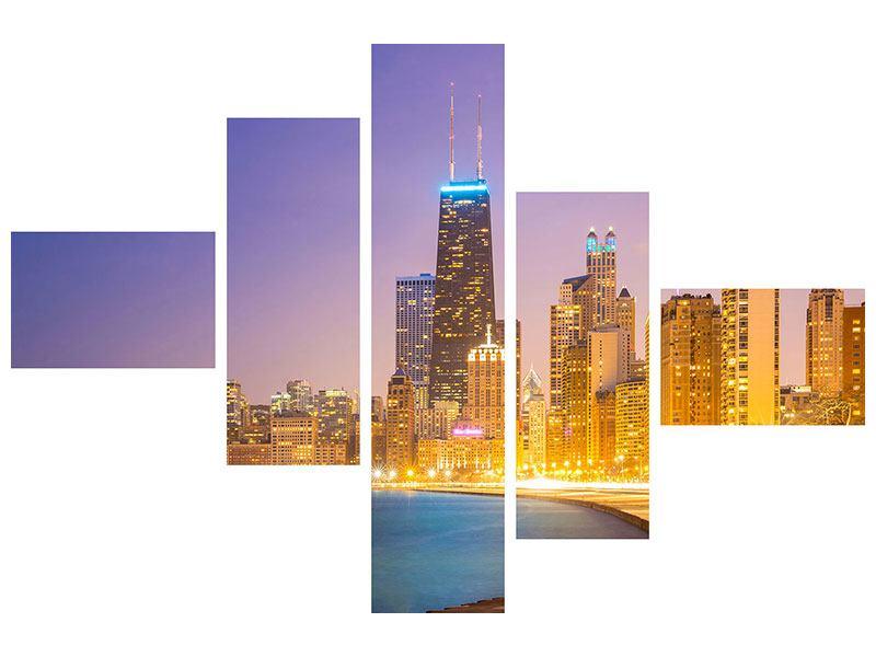 Klebeposter 5-teilig modern Skyline Chicago in der Nacht