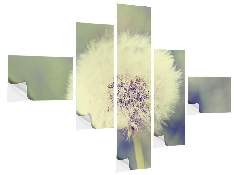 Klebeposter 5-teilig modern Die Pusteblume