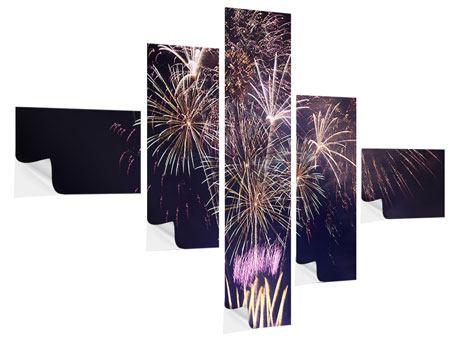 Klebeposter 5-teilig modern Feuerwerk