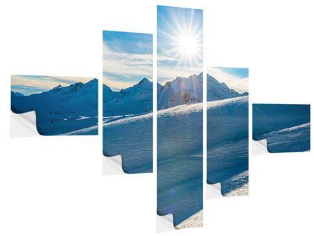 Klebeposter 5-teilig modern Ein Wintermärchen in den Bergen