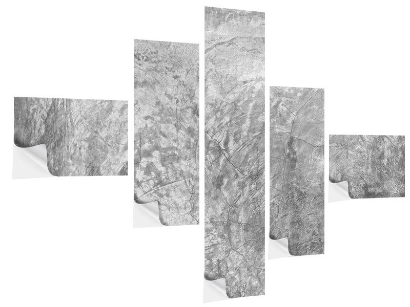 Klebeposter 5-teilig modern Wischtechnik in Grau