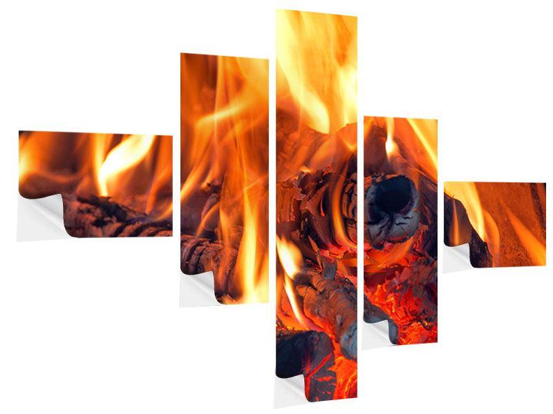 Klebeposter 5-teilig modern Lagerfeuer
