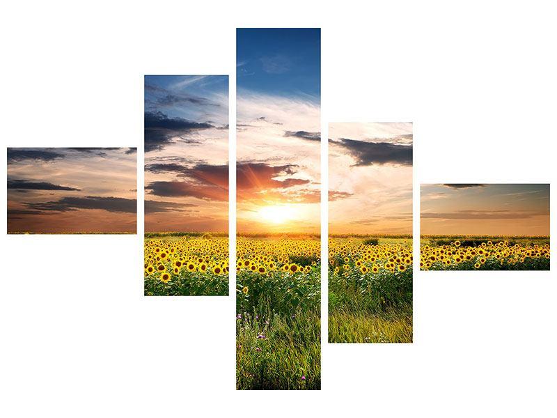 Klebeposter 5-teilig modern Ein Feld von Sonnenblumen