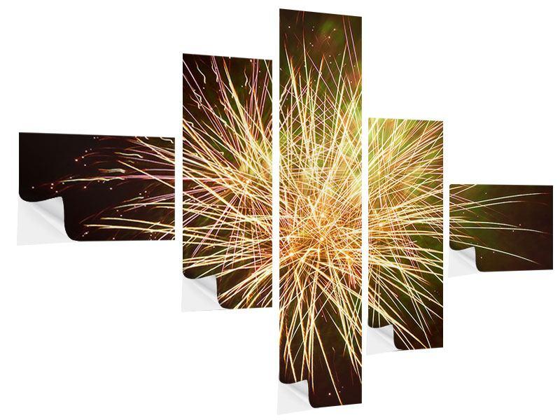 Klebeposter 5-teilig modern Feuerwerk XXL