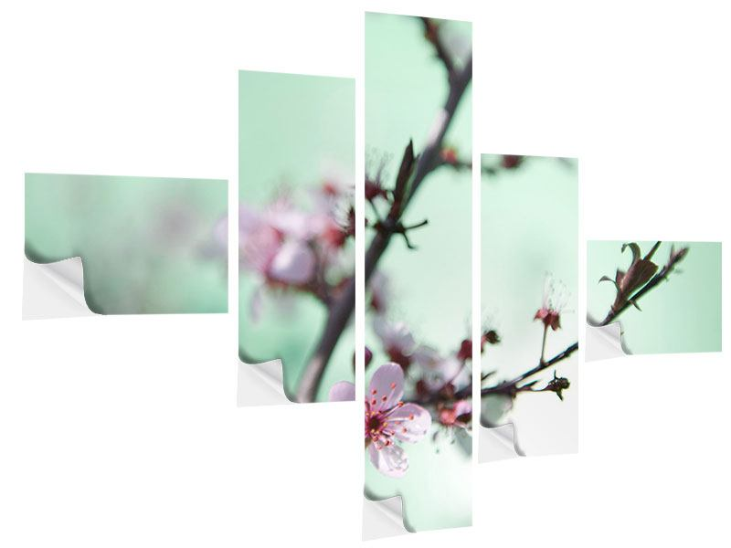 Klebeposter 5-teilig modern Die japanische Kirschblüte