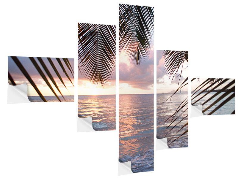 Klebeposter 5-teilig modern Unter Palmenblätter