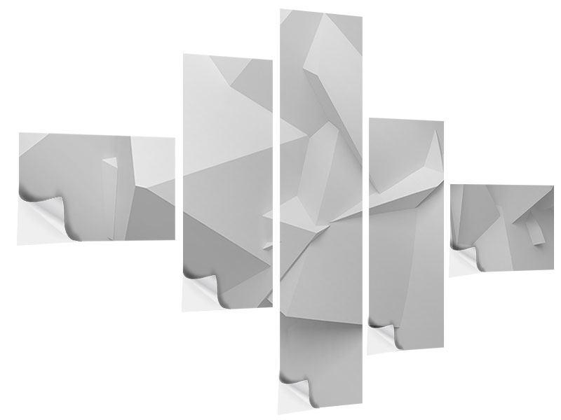 Klebeposter 5-teilig modern 3D-Raster
