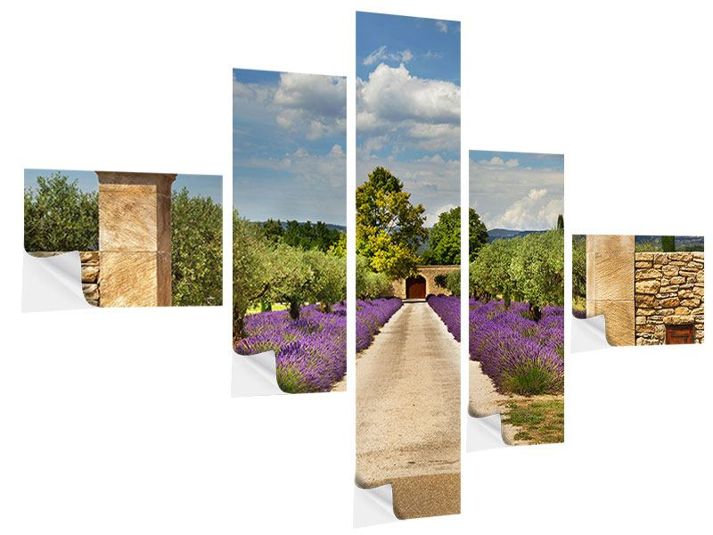 Klebeposter 5-teilig modern Lavendel-Garten