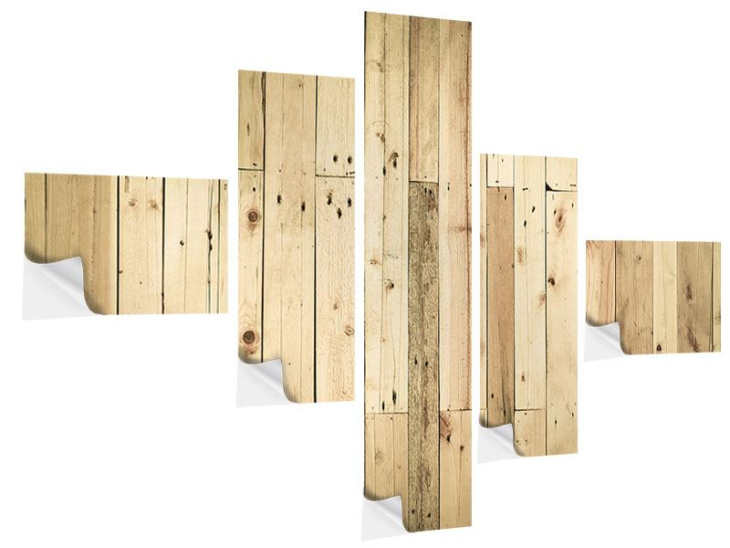 Klebeposter 5-teilig modern Holzpaneelen