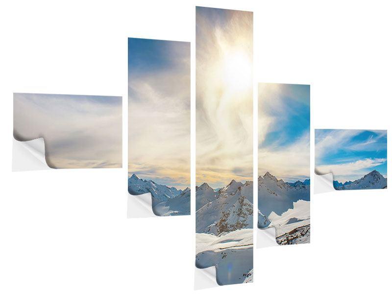 Klebeposter 5-teilig modern Über den verschneiten Gipfeln