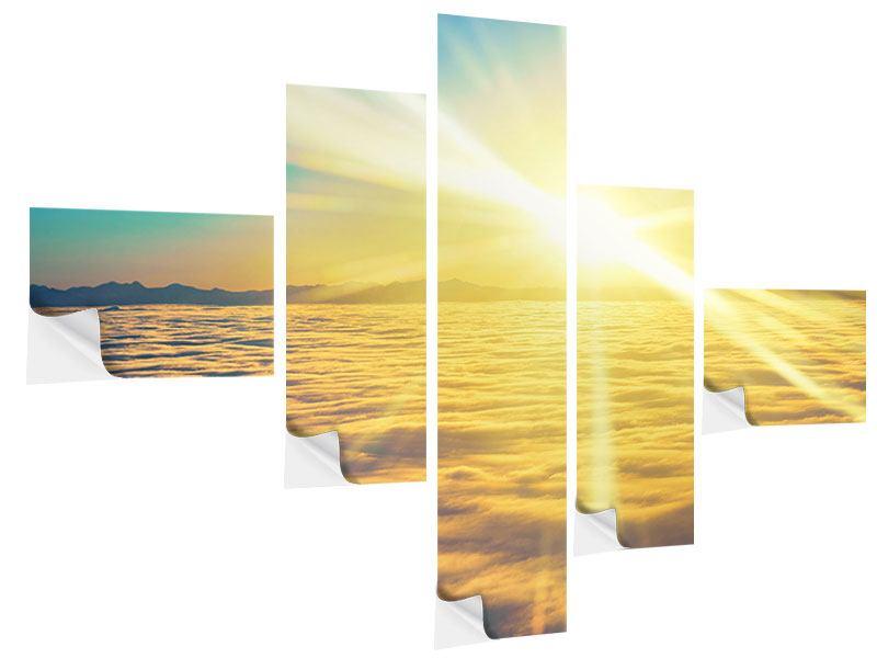 Klebeposter 5-teilig modern Sonnenuntergang über den Wolken