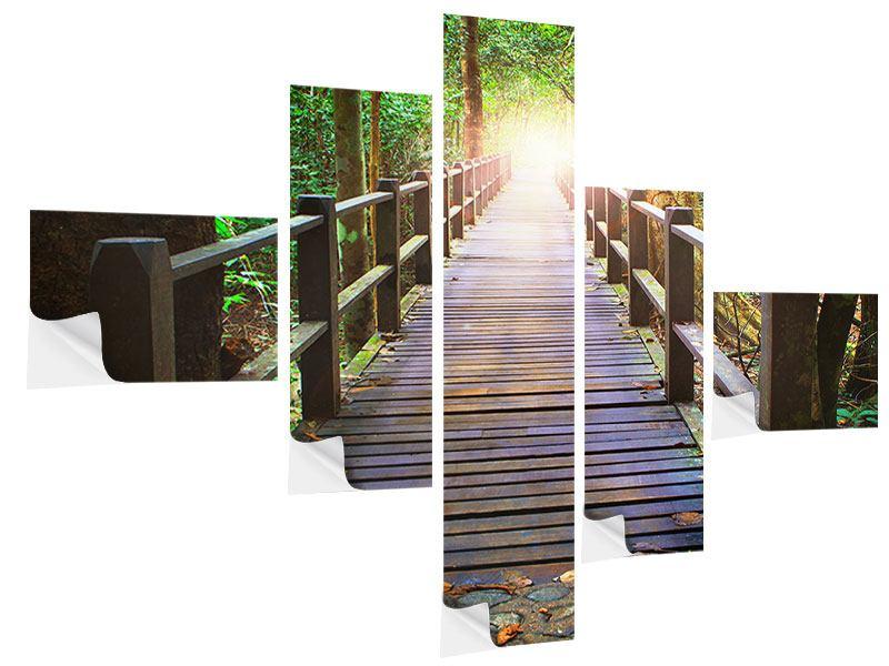 Klebeposter 5-teilig modern Die Brücke im Wald