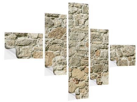 Klebeposter 5-teilig modern Naturmauer