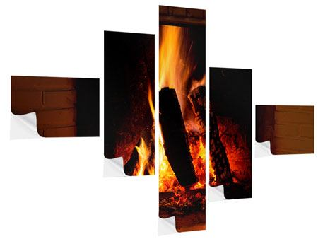 Klebeposter 5-teilig modern Feuer im Kamin
