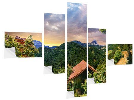 Klebeposter 5-teilig modern Schweizer Berge im Sommer