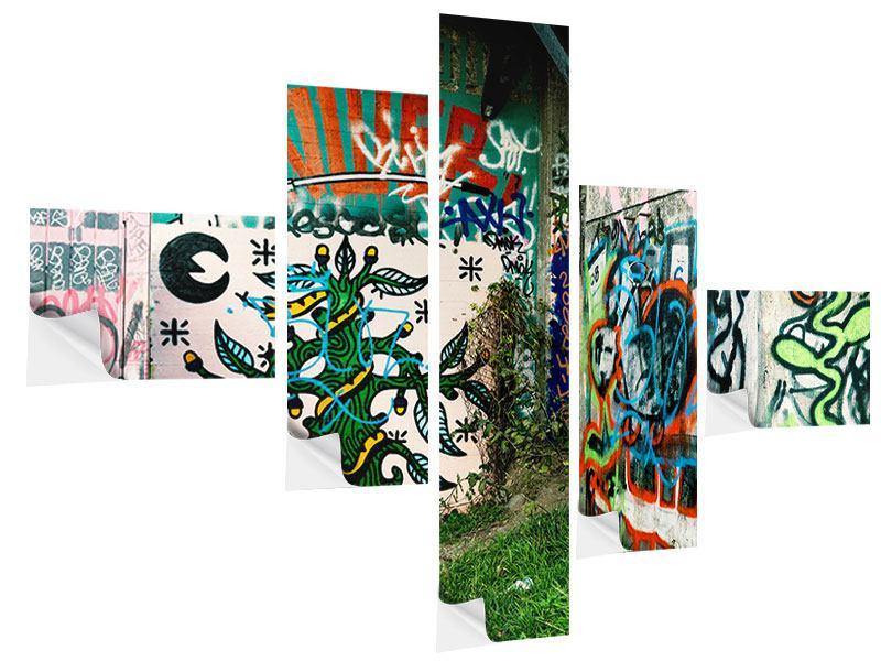 Klebeposter 5-teilig modern Graffiti im Hinterhof