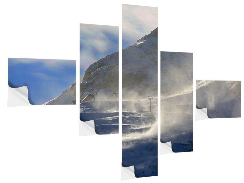Klebeposter 5-teilig modern Mit Schneeverwehungen den Berg in Szene gesetzt