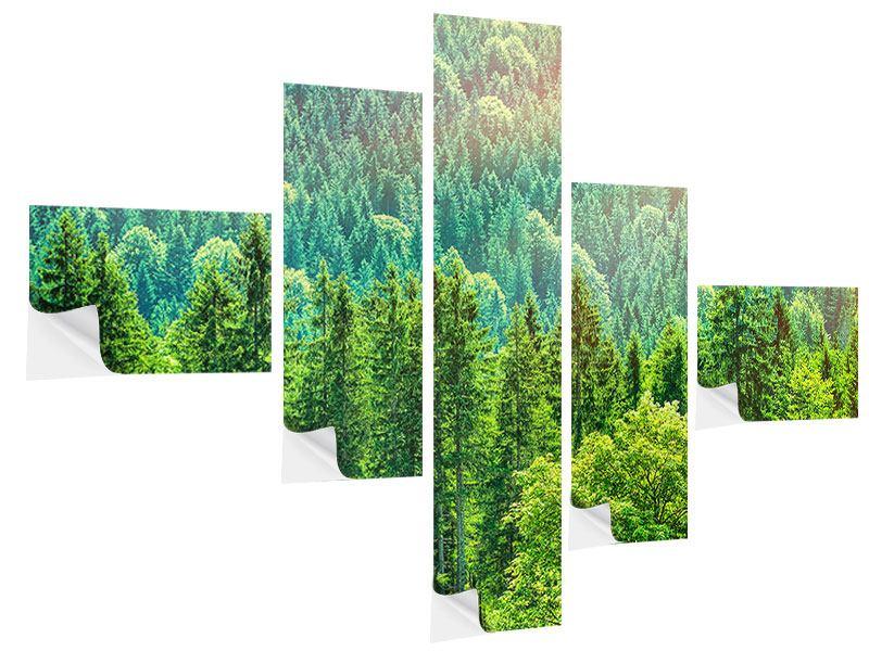 Klebeposter 5-teilig modern Der Waldhügel